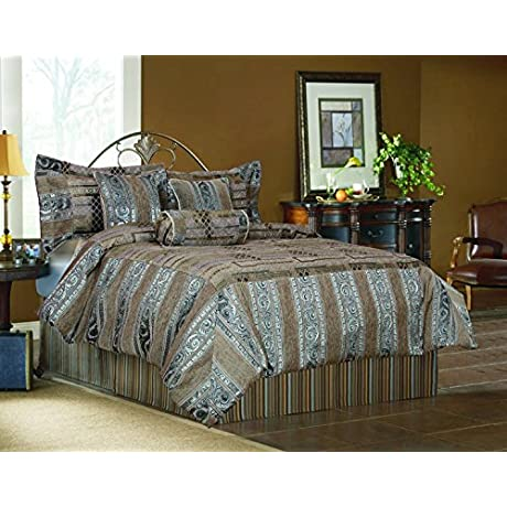 Tache Home Fashion 14199A K Comforter Brown Silver Gold King