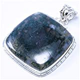 StarGems(tm) Natural Moss Agate Unique Design 925 Sterling Silver Pendant 2""