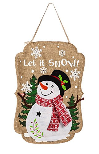 - Evergreen Flag Sparkle Snowman Lighted Burlap Door Decor