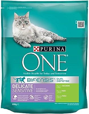 PURINA ONE Bifensis Pienso para Gatos con la Digestión Sensible Salmón y Cereales 8 x 800 g: Amazon.es: Productos para mascotas