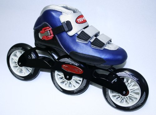 Trurev Youth 3-Wheel Inline Skates 3-110 Blue- Size 4/ 4.5 by Trurev