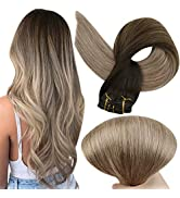 Full Shine Human Clip in Extensions Straight Hair Extensions Clip ins Brazilian Hair Balayage Ext...