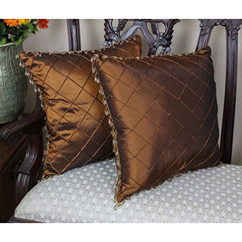 Blazing Needles Beaded Satin Sheen Polyester Square Throw Pillows with Inserts (Set of 2), 18