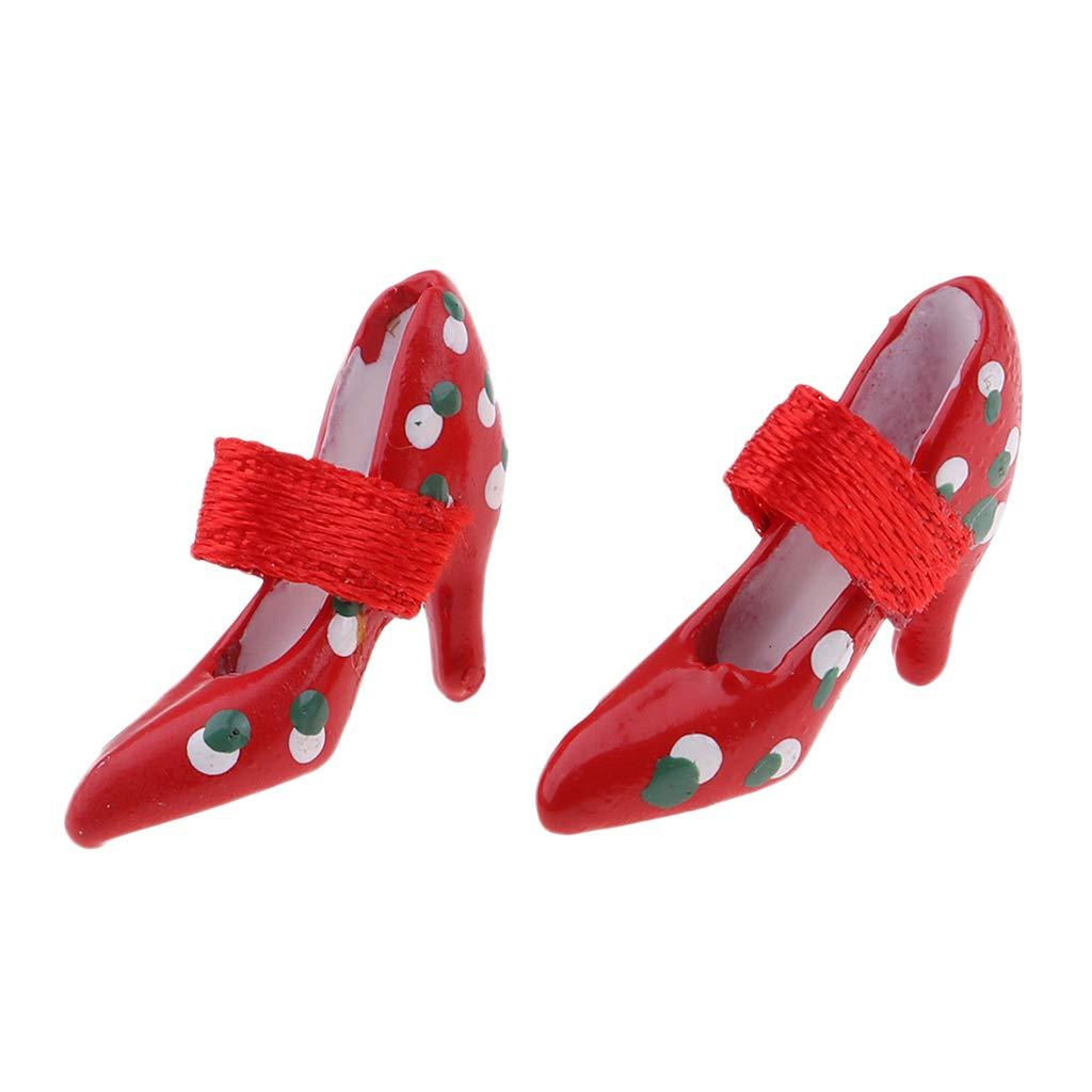 Mini High Heel Sandalen // Pumps // Flipflop Perfekt f/ür 1:12 Puppenhaus Zubeh/ör Rot P Prettyia Minuatur Puppenschuhe