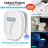 Rechargeable Toilet Light | Elimi 12 Colors Changing LED Light for Toilet Bowl, Motion Activated Sensor Light Up Toilet Seat for Bathroom, Included Battery for Toilet Night Light with Waterproof IP67