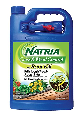 Natria Grass & Weed Control with Root Kill, Natural Effective Weed Killer Without Glyphosate, Ready-to-Use, 1-Gallon by Natria