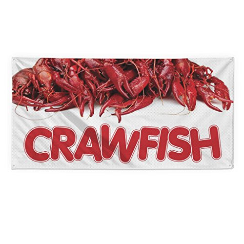 Crawfish #1 Outdoor Fence Sign Vinyl Windproof Mesh Banner With Grommets - 3ftx6ft, 6 Grommets