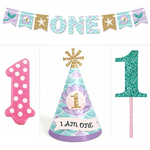 Price comparison product image Let's Be Mermaids - 1st Birthday Girl Smash Cake Kit - High Chair Decorations