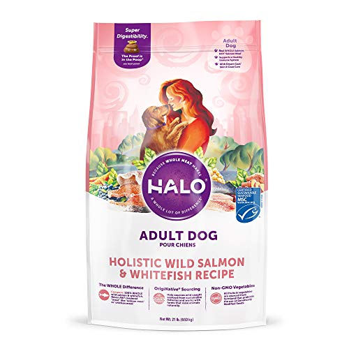 HALO, Purely for Pets 39211 Natural Dry Dog Food, Wild Salmon & Whitefish Recipe, 21 lb Bag, Brown
