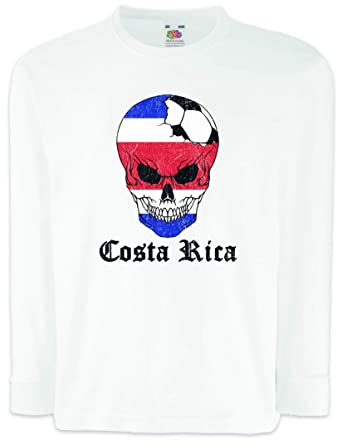 6ee90a89c2f Amazon.com: Urban Backwoods Costa Rica Football Skull I Kids Boys Girls  Long Sleeve T-Shirt White: Clothing