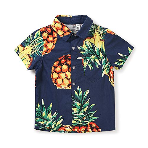 Boy's Button Down Pineapple Hawaiian Shirt, Short Sleeve Casual Beach Aloha Party Tops Summer Tops Blue Yellow Tag 150CM - 10-11 Years]()