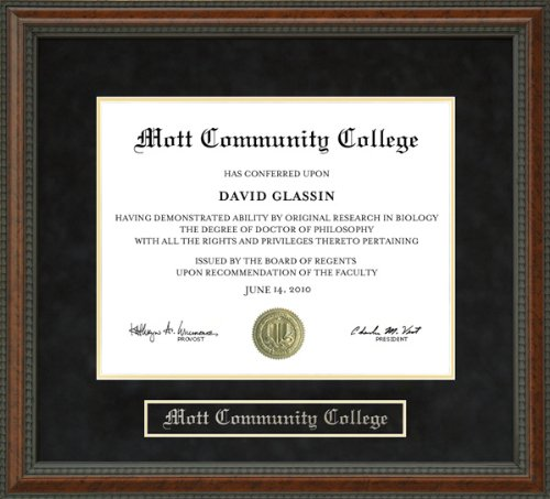 Wordyisms Mott Community College Walnut Burl Diploma Frame (Mott Walnut)