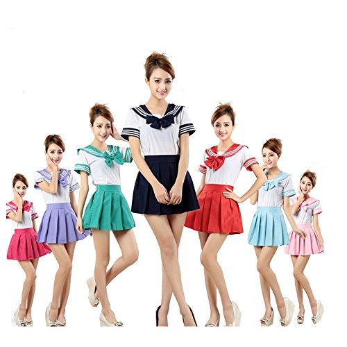 GDreamer ST1 Japanese Student Sailor Uniform Clothes COS Halloween Costume Party S-XL (Pink-S) - Pink Sailor Costumes