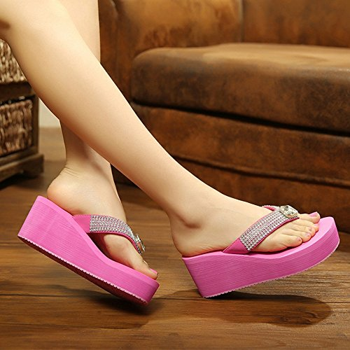 FEI Mules Anti-skid wear-resistant summer high-heeled slippers sandals Beach shoes Female sandals for 18-40 years Sandals Casual (Color : Pink, Size : 38) Pink