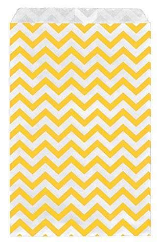 RJ Displays-100 pcs Pack Yellow Chevron Paper Gift Bags Shopping Sales Tote Bags 6