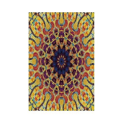 Polyester Garden Flag Outdoor Flag House Flag Banner,Yellow Mandala,Geometric Mosaic Form Colorful Tile Curvy Figures and Flower Indian Ornament Decorative,Multicolor,for Wedding Anniversary Home Outd