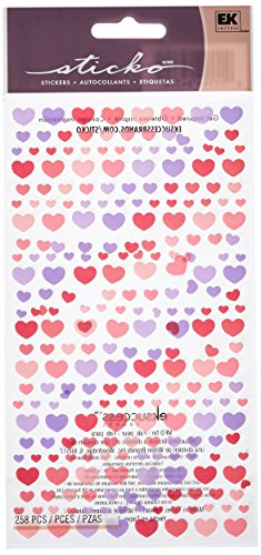 Sticko Purple and Pink Hearts Vellum and Glitter Stickers