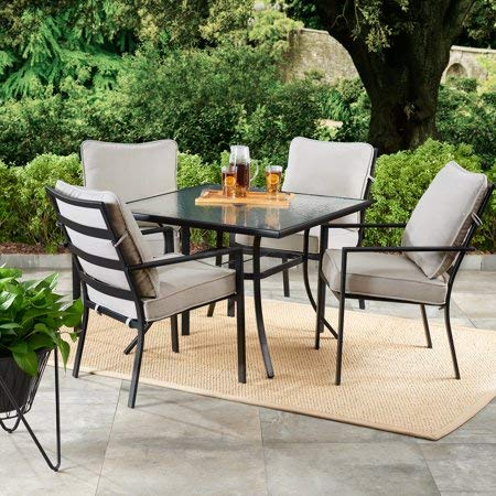 Sunroom Furniture- Out Door Patio Furniture- Five Piece Set Matte Carbon Steel Frame Gray Cushioned Glass Tabletop - Great For Summer Barbecues, Garden Parties, And Afternoons Spent Lounging