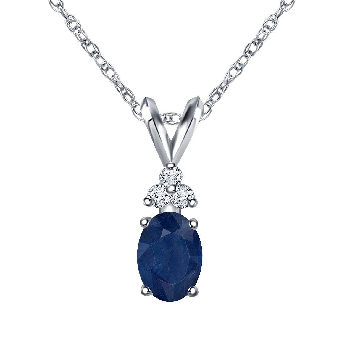 Ringjewels Oval /& Round 0.06 Ct Sapphire /& Sim Diamond Pendant Necklace W//18 in 14K White Gold Plated