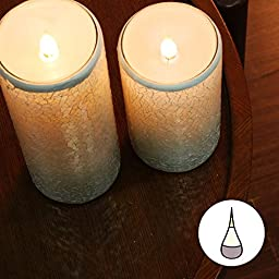 Simplux Moving Wick Led Candle, home Impressions Flameless Wax Candle Lantern with Timer, wedding Decor, mosaic Candle,battery-operated,3x8 Inches, white