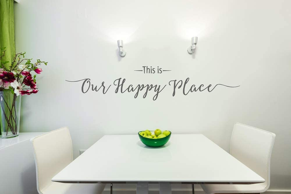 """Wall Decor Plus More WDPM3478""""This is Our Happy Place Script"""" Wall Decal Vinyl Lettering, 36 x 7"""", Storm Gray"""