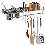 Kitchen Bar for Apartment 3-in-1 Stainless Steel Wall Mounted Kitchen Storage Shelf, Knife Block w/ Towel Rack & Utensil Organizer