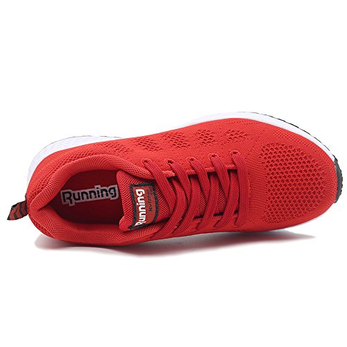 Women's Red US5 Fashion Sneakers Shoes Running 10 Athletic 5 Breathable Walking Lightweight JARLIF Tennis dRwOpxCdq