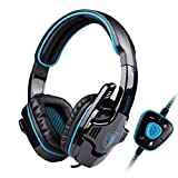 Sades 1536987 SA-901 USB Wired 7.1 Surround Noise Cancelling PC Gaming Headset with Microphone, Blue/Black For Sale