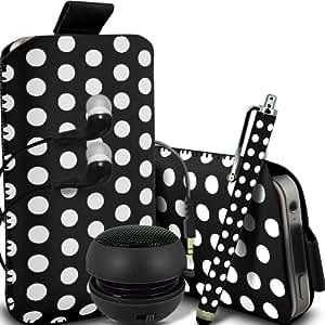 ONX3 HTC Desire 300 Leather Slip protectora Polka PU de cordón en la bolsa del lanzamiento rápido con Mini capacitivo Stylus Pen, 3.5mm en auriculares del oído, Mini Altavoz Cápsula recargable (Negro y Blanco)
