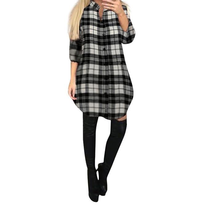 Amazon.com: orangeskycn Womens Ladies Mini vestido Plaid ...