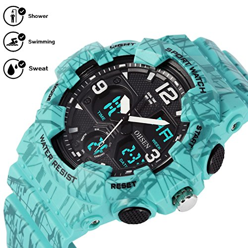 Digital Sports Watch Kids Boys Waterproof Analog Silicone Outdoor Stopwatch Alarm Wrist Watches, Green