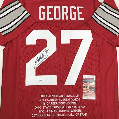 Autographed/Signed Eddie George Ohio State Red Stat College Football Jersey JSA COA