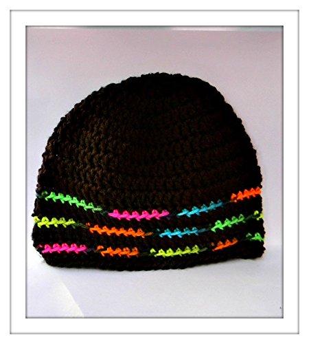 Amazoncom Crochet Skull Cap Chocolate Brown With Multi Color Trim