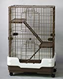 "Homey Pet 3 Tiers Chinchilla Hamster Rat Ferret Cage with Sleeping Platform, Pull out tray, Urine Guard and Lockable Casters, Brown, L26""x W17""x H38"""