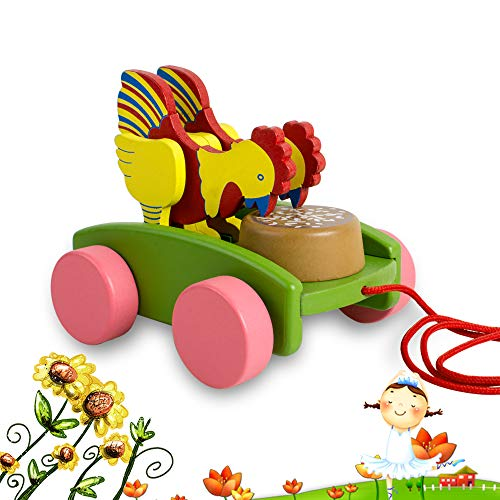 CARESHINE Walk-A-Long Rooster Wooden Pull Toy, Wooden Chicken Pull and Push Toy Wooden Pull Along Animal Toy for Toddlers