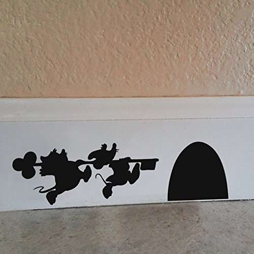 BATTOO Mouse Holding a Key to Mouse House, Cute Running Mouse Wall Decal (Disney Room Decor)