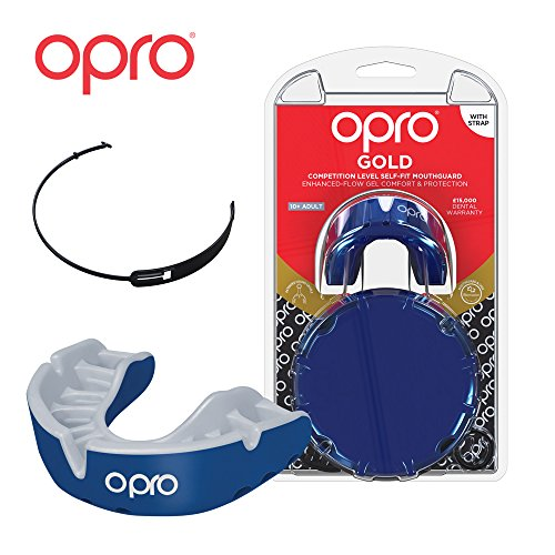OPRO Gold Level Mouthguard | Gum Shield + Strap for Ball, Combat and Stick Sports (Adult/Kids Sizes) - 18 Month Dental Warranty (Pearl Blue/Blue, Adult)