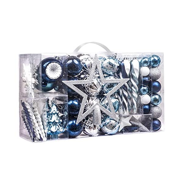 Valery Madelyn Palle di Natale 100 Pezzi di Palline di Natale, 3-5 cm Auguri Invernali Argento e Blu Infrangibili Ornamenti di Palle di Natale per Decorazioni per Alberi di Natale 1 spesavip
