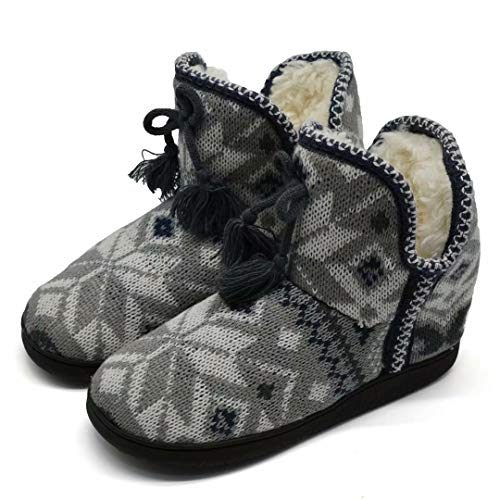 Womens Woolen Knit House Slipper Boots Floppy Foam Pom Pom Indoor Pull on Shoes (Knit Womens Boots)