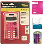 Pink Texas Instrument TI-30XIIS Scientific Calculator Bundled with 1 Pink One Subject Notebook, 1 Dual Grid Graph Paper Notebook and 1 Pack of Mechanical Pencils. Perfect for Math or Science Class.