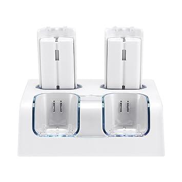 Jevogh Cargador de control remoto Wii + paquete de baterías, GR54 estación de carga 4 en 1 para controladores remotos Nintendo Wii con 4 baterías ...