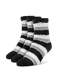 Galiva Women's Striped Fuzzy Quarter Cozy Socks - 3 Pairs, Medium, White