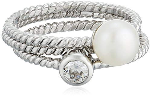 Bella Freshwater Pearl Sterling Silver Stackable Ring, Size 8