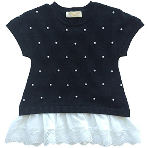 Monnalisa Little Girl Sweater With Pearls Black by Monnalisa