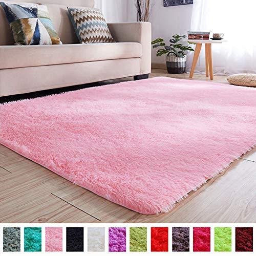 PAGISOFE Soft Girls Room Rug Baby Nursery Decor Kids Room Carpet 4#039 x 53#039Pink