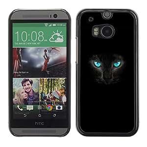 "For HTC One ( M8 ) , S-type Fierce Gato Negro Pantera Ojos azules"" - Arte & diseño plástico duro Fundas Cover Cubre Hard Case Cover"