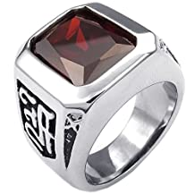 Konov Jewelry Mens Crystal Stainless Steel Ring, Classic Gothic, Red Silver, with Gift Bag, C23467