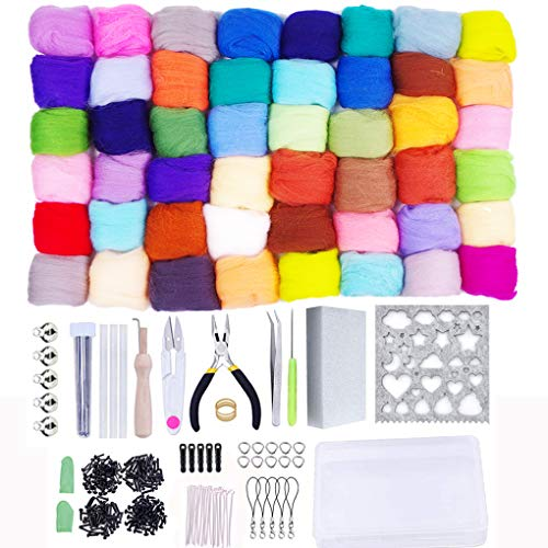 Needle Felting Starter Kit Set, 50 Colors Needle Felting Wool Set Felt Tools Needle Felting Starter Kit Wool Fibre Hand Spinning DIY Craft Supplies