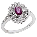 BRAND NEW Ruby & Diamond Ring in 18K White Gold (0.16 CTW)