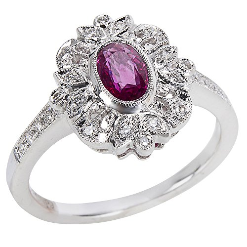 BRAND NEW Ruby & Diamond Ring in 18K White Gold (0.16 CTW) by Loved Luxuries